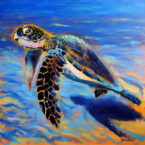 Aquatic Sea Turtle | Original 36x36 Acrylic Painting in Floater Frame