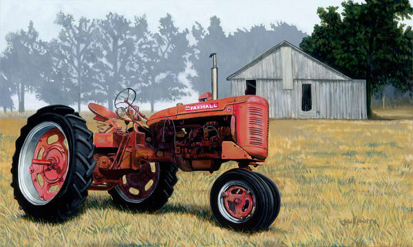 Original painting of a red Farmall tractor available as art prints.