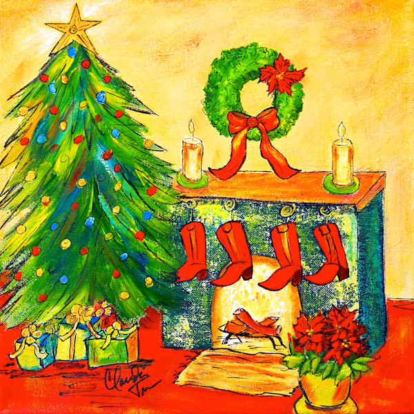 Texas Christmas - an acrylic painting by Claudia True