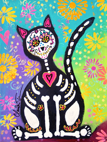 Day of the Dead Cat I - print of painting by Claudia True