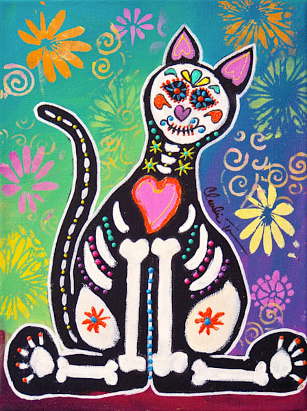 Day of the Dead Cat II - print of acrylic painting by Claudia True