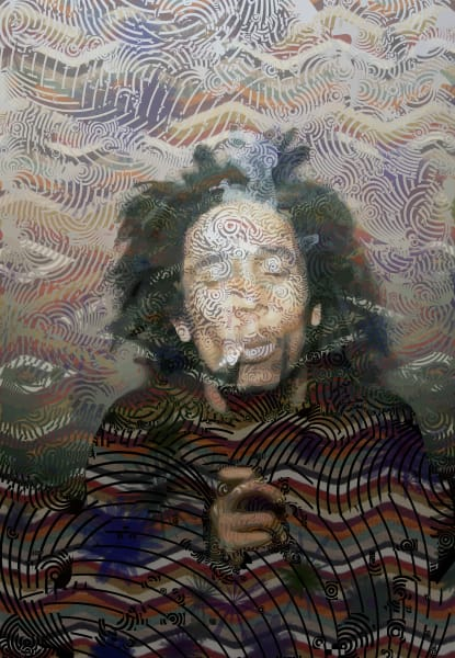 Bob Marley abstract marijuana Wall Art & photograph by algorist artist Peter McClard.