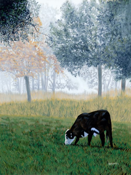 Paintings of grazing cows and Fall trees,  available as art prints
