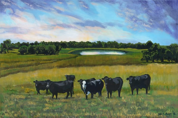 Colorful Texas landscape paintings featuring cattle, hills and ponds,  for purchase as art prints.