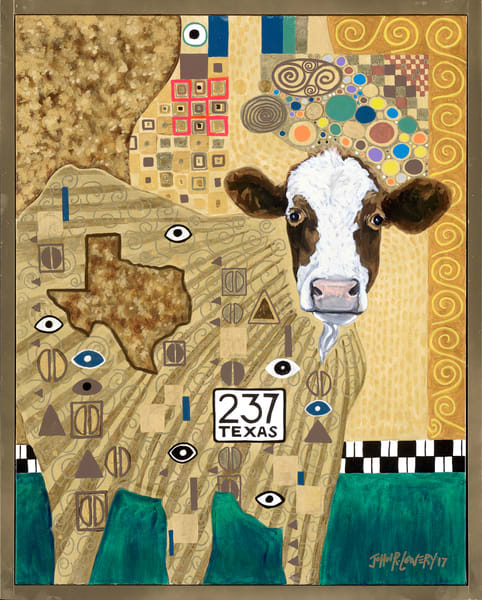 Unusual cow painting inspired by Gustav Klimt, sold as art prints.