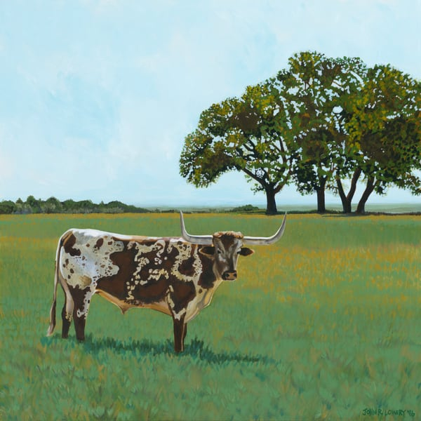 Oak tree and longhorn landscape paintings by John R. Lowery, sold as art prints..