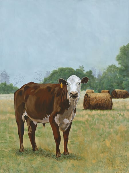 Paintings of cows and hay bales by John R. Lowery, sold as art prints.