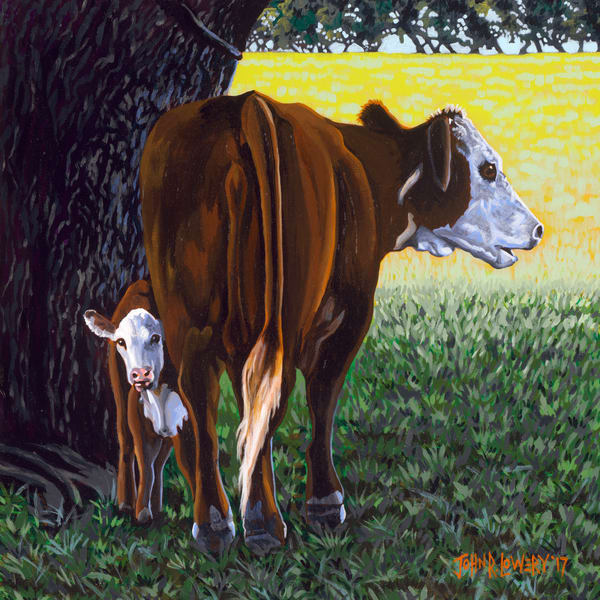 Mother and calf livestock paintings by Texas based artist, John R. Lowery sold as art prints.