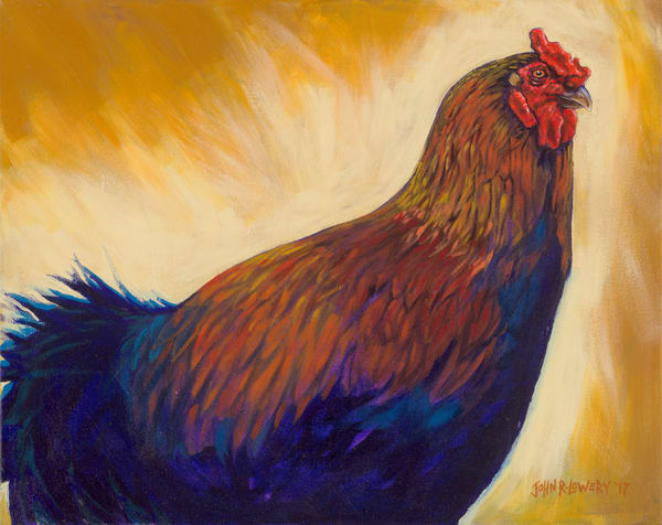 Rooster paintings by Texas based artist, John R. Lowery - available as art prints.