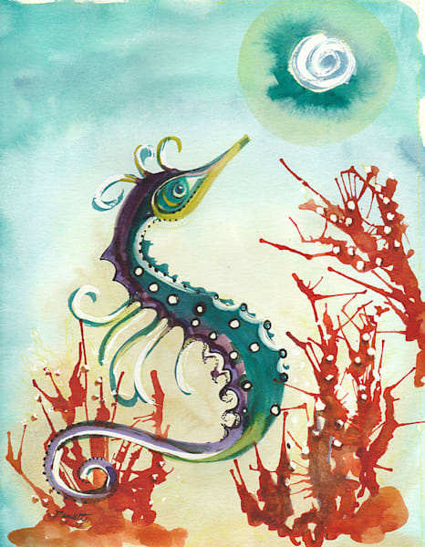 Decorative Seahorse with red coral for purchase at boudreau-art.com