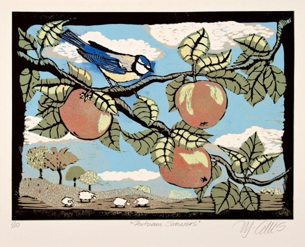 Blue tit in a bucolic landscape. Original linocut with a bird on an apple tree branch. Grassing sheep and a bird linocut print. art, painting
