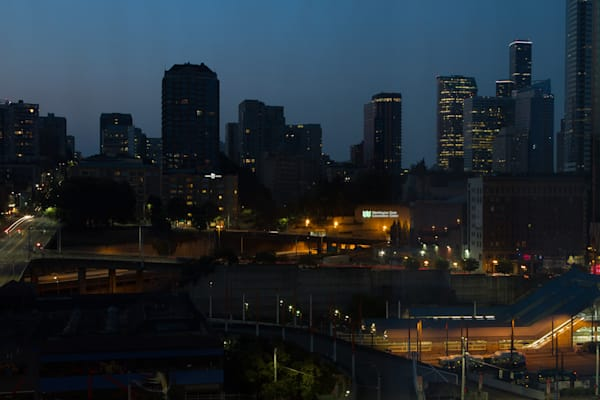 A Fine Art Photograph of Downtown Seattle During Dusk by Michael Pucciarelli