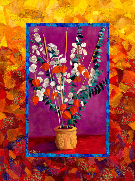 Luscious Still Life Paintings with Flowers in Vases and Rich Drapery by Nishima