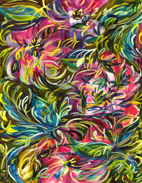 Floral and botanical art, abstract painting for sale, Janak Narayan Fine Art
