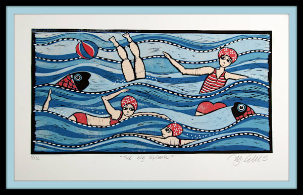 Swimmers linocut with high seas and fish. Artprint in blue and red with ocean swimming and fish. original linocut by Mariann Johansen-Ellis, art, painting