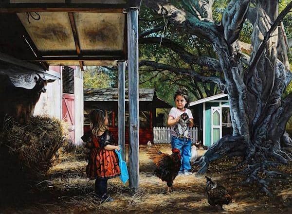 Mischievous kids on a farm print | Kevin Grass Fine Art
