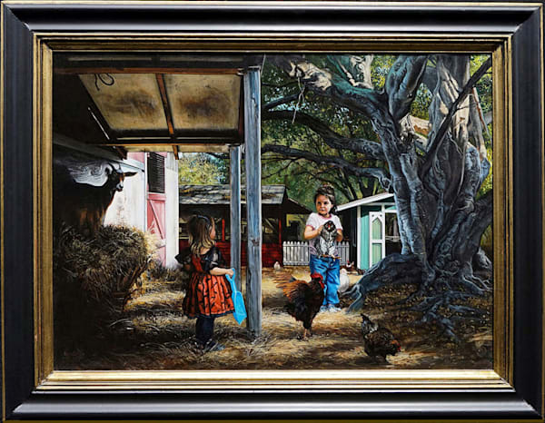 Mischievous kids on a farm painting | Kevin Grass Fine Art