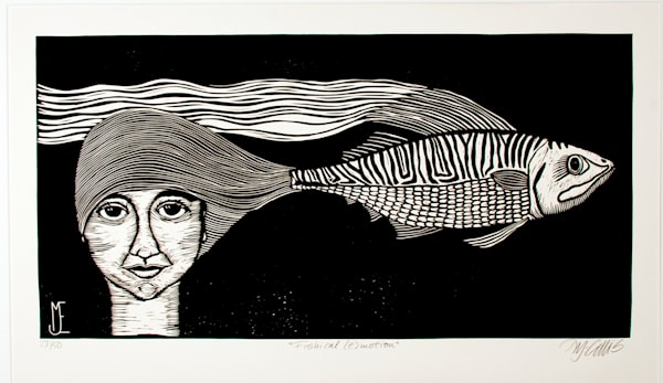 Portrait art with woman and fish in original printmaking, linocut. Black and white printmaking with woman with fish headgear. art, painting