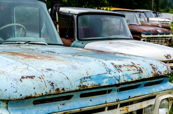 Row of classic cars, rusting in field, art photograph