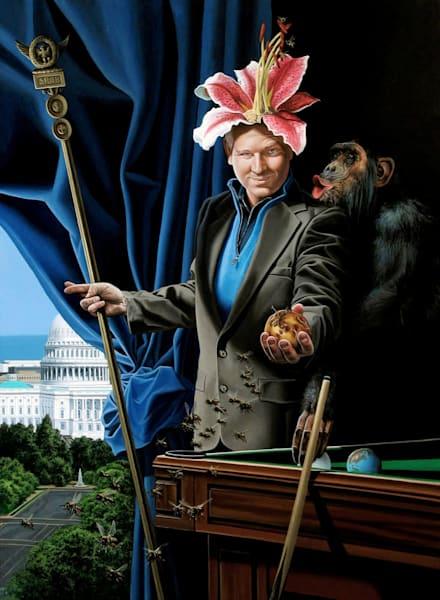 Thinker political pundit painting | Kevin Grass Fine Art