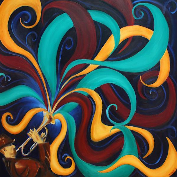 Trumpet, painting, art, print