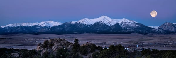 full moon setting over Mt. Princeton, Buena Vista, Colorado