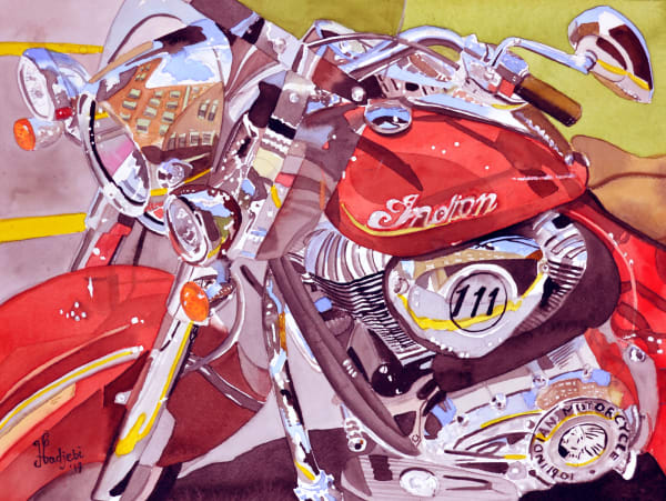 Watercolor painting of a red Indian motorcycle - prints available in variable sizes on various surfaces