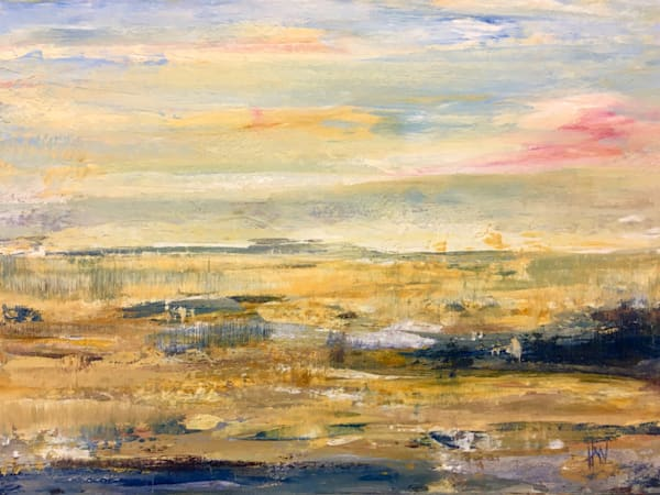 Marsh in Fall abstract landscape painting