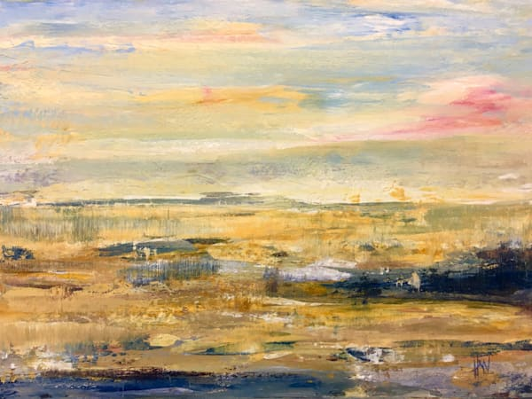 Marsh in Fall original painting mixed media