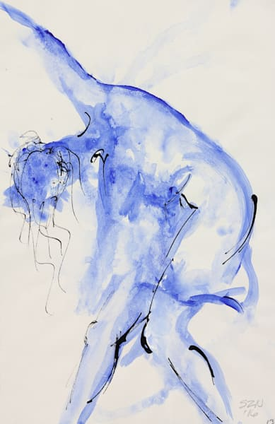 Twist and Shout is an acrylic & ink painting in blue. Art by Susan Kraft