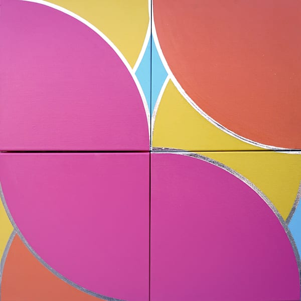 """An Understanding. Acrylic and Platinum leaf on four canvas panels.24""""x24"""""""