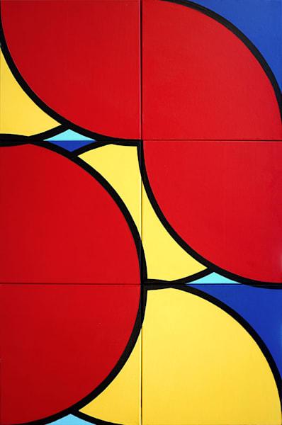 "Never the Flower, Paul Westacott. Acrylic on 6 canvas panels.24""x36"""
