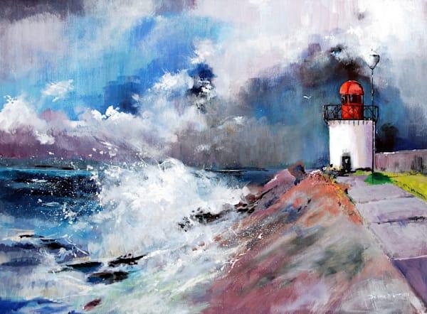 Storm Burry Port Lighthouse Art Print