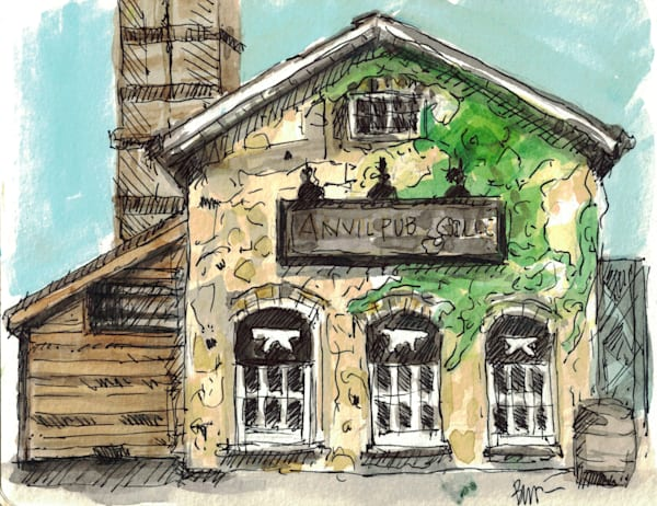 Anvil Pub Sketch Art | Geoffrey Butz Art & Design Inc