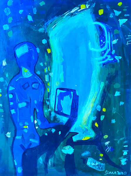 Broadcasting from Channel 79 - Original Abstract Pop Art Painting by Soma79
