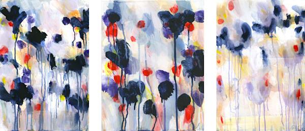 Wild Flowers Triptych Art | Caroline Wright Art