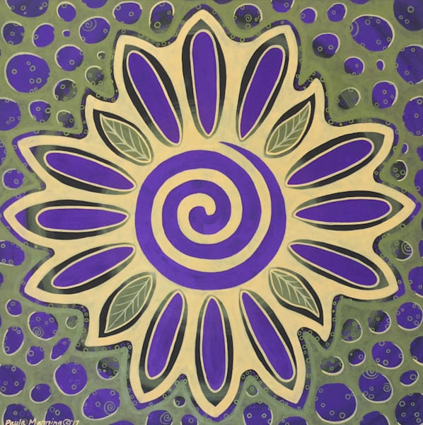 Healing Bloom spiral oil painting by Paula Manning-Lewis