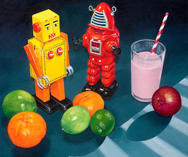 Two robots some fruit, a strawberry milk and an onion