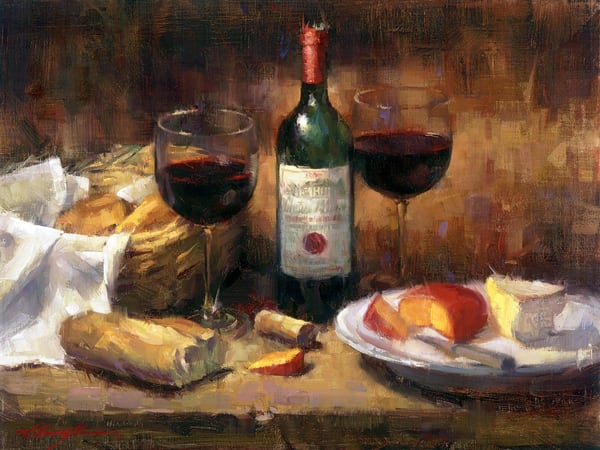 Wine & Cheese | Still Life Painting | Tucson Art Gallery