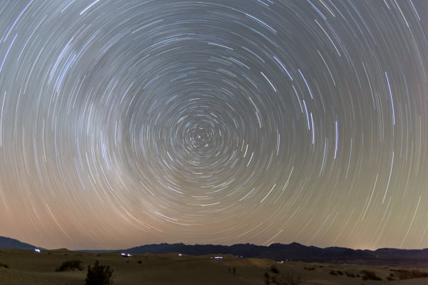Star Trails Over Mesquite Flat Dunes
