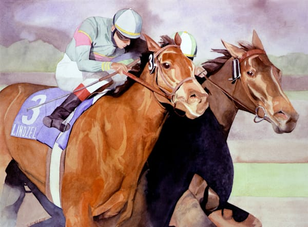 horse painting, watercolor,  Secretariat by Susan Kraft on Zippity Art