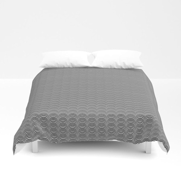 Black and White Scallop Decorative Bedding