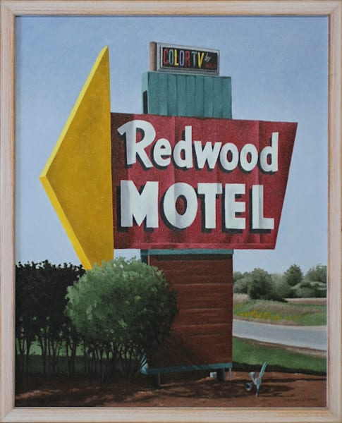 Redwood Motel Sign | Original Oil Painting | Fine Art Prints