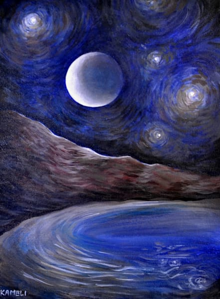 Night Lake  Art | kamelifineart