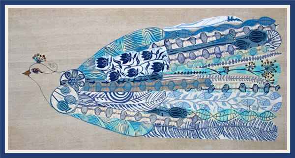 handprinted fabrics embroidered in the shape of a bird, the main color is blue, original linocuts have been used to create this collage by Mariann Johansen-Ellis, art, painting