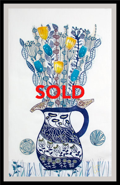 Original linocut collage featuring a blue jug with flowers. Floral one of a kind mixed media art collage. art, painting
