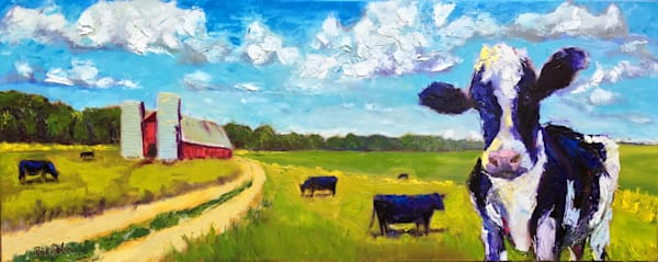 Welcome Home We've Been Expecting You | Painting of Cows and a Red Barn on a Farm
