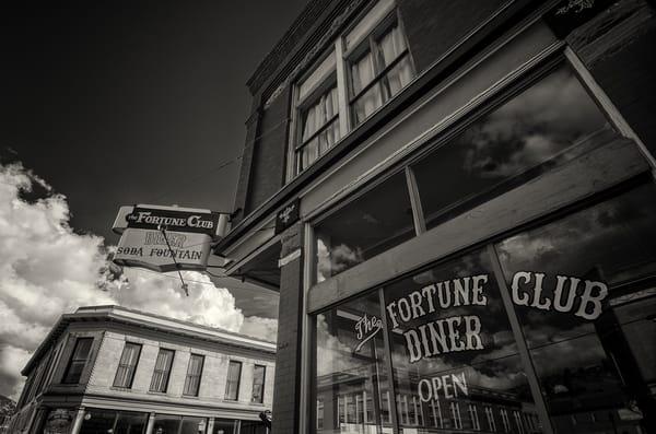 Black and White Sepia Photo of Fortune Club Diner Victor Colorado