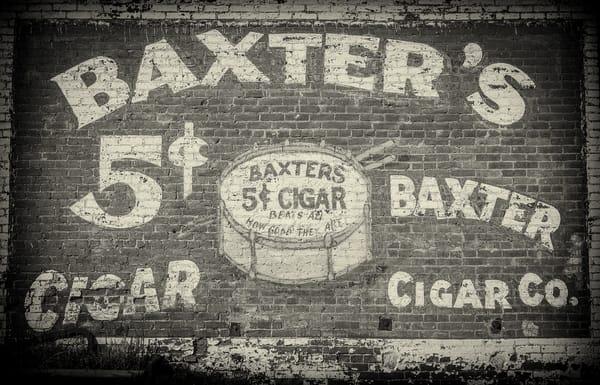 B&W Photos of Baxter Cigar Company 5 Cent Cigar Ad on Building in Victor Colorado