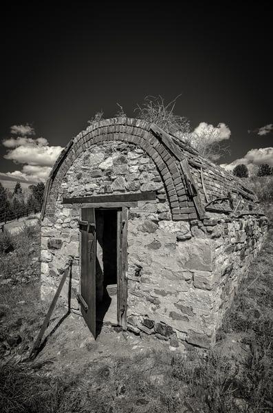 Black & White Photo of Stone Dynamite Shack Victor Colorado